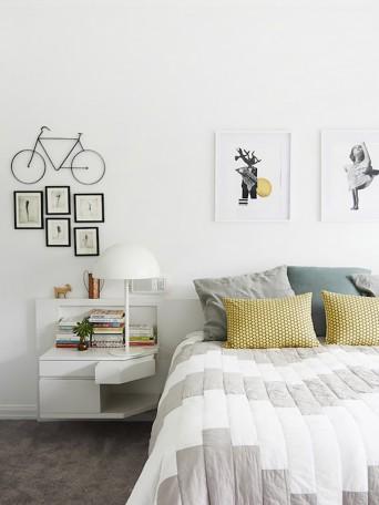 cabeceira criado-mudo em quarto de casal