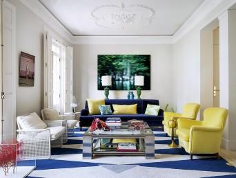 sala de estar em cores vibrantes