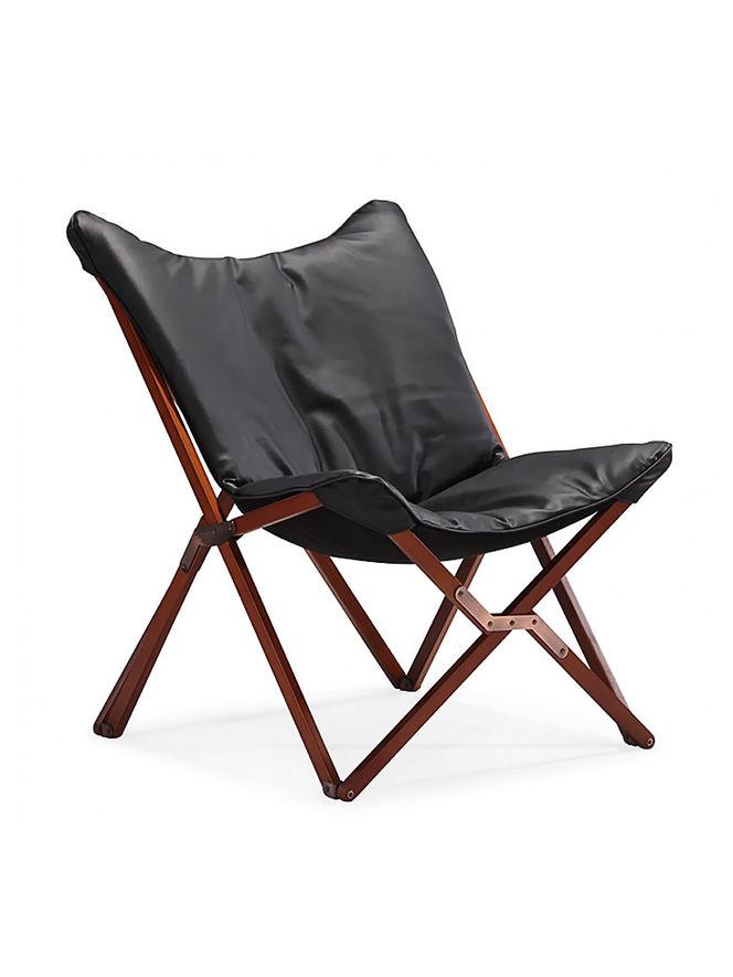 Cadeira Dobrável de Madeira e Couro