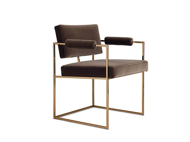 Cadeira estrutura de metal e Estofada em Tecido Marrom